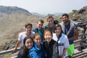 Jeju-crew at the top of the mountain of hell (Hallasan)